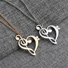 New Love Heart Treble Clef Music Note Elegant Silver Plated Pendant Necklace+