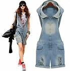 New Fashion Women CASUAL Vintage Overall Jeans Jumpsuit Short Size S M L D229