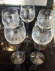 Set of 5 PRETTY Princess House Wine Glasses Etched Flower Leaves