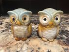 Adorable Stoneware Blue Brown OWL Collectible Salt  Pepper Shaker Figurine Set