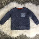 Boys Oshkosh Quilted Pullover Size 3t Sweatshirt Long Sleeve Navy Blue Pocket