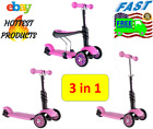 Y Glider Kids Pink Kick Scooter For Little Girls Built-in Seat 3-wheels balance