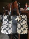 Coach F13533 Gray Black Signature Stripe Kiss lock Carryall Satchel Bag NWT 328