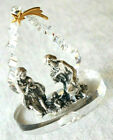 Handmade Miniature Swarovski Crystal Holy Family Christmas Nativity