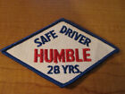 Vintage HUMBLE Gas & Oil Service Station Uniform Cloth Embroidered Patch 28 YEAR