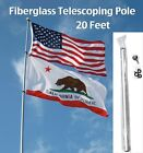20 FT FLAG POLE fiberglass telescoping camp rv desert nascar antenna