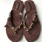 Daisy Fuentes Flip Flop Sandals Large 9 10 Brown Soft NEW