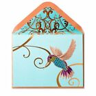 NEW Papyrus Greeting Card Hummingbird on Teal Blank any Occasion