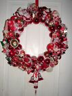 Vintage Handmade Christmas Ornament Wreath Large 25 Red Santa Claus Kitsch