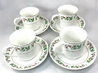 Gibson Christmas Charm Holly & Berries Flat Cup And Saucer Set Of 4, Gold Trim