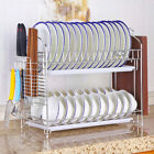 2Tier Dish Drying Rack Stainles Steel Kitchen Holder with Tray Dish Rack Drainer