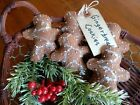 Five Handcrafted Gingerbread Cookie ornie's tuck's bowl filler's