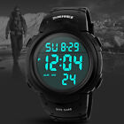 Men's Sports Swimming Waterproof Digital LED Military Wrist Watch Alarm Outdoor