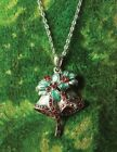 Victorian Trading Co Silver Bells Necklace Ruby Red Rhinestones