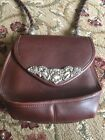 BRIGHTON SILVER FLORAL ACCENTED BROWN LEATHER SMALL CROSSBODY SHOULDER BAG