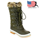 Christmas Women Lace Up Waterproof Quilted Mid Calf Weather Snow Boots Khaki
