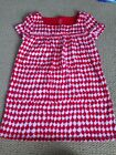 Lands End Girls 5 6 Red Holiday White Euc Short Sleeve Dress