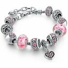 Silver Tone Chain Pink Crystal Love Heart Bead Glass Charm Bracelet With