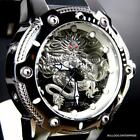 Mens Invicta Bolt Dragon Silver Tone Black 52mm Automatic Silicone Watch New