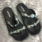 Minnetonka Womens Sz 8 Black Leather Sandals Turquoise Silver Beads Charms