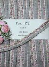 1y VTG FRENCH GRAY PINK RUFFLE JACQUARD RIBBON DOLL DRESS TRIM ROCO ROSETTE ANTQ