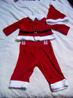 Boys 3 piece SANTA Outfit Hat Shirt Pants Christmas 3 6 month NWT LAST ONE