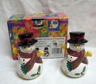 NEW SANGO SNOWMAN SALT & PEPPER SHAKER SET SWEET SHOPPE XMAS SUE ZIPKIN