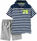 Carters Baby Boys 2 Piece Navy Striped Shirt Grey Shorts Set 3 Months 35