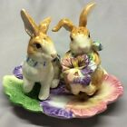 Fitz & Floyd Bunny Rabbit Halcyon Collection Pansy Salt & Pepper Shakers w/Tray