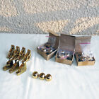 SOLID BRASS CARPET STAIR ROD HOLDER BRACKETS WITH FINIALS ALL NEW