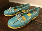 CROCS Womens Size 8 Blue Aqua Yellow Beach Line Rubber BOAT SHOES Loafer Flats