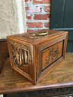 Small Antique Carved Camphor Teak Wood Collector Jewelry Box Asian Chinese