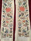 2 ANTIQUE QI'ING 19TH c CHINESE EMBROIDERED SILK PANELS SLEEVE BANDS EMBROIDERY