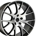 20x9 Black Machined Face Challenger Hellcat Style Wheels 20 Rims Fit Dodge B1W