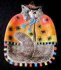 FITZ & FLOYD Kitty Witches Cat Spiders Halloween Orange Serving Platter Plate