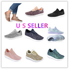 Link Remy18 WomenKids Fashion Sneaker Lightweight Glitter Quilted Lace Up Shoes