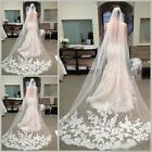 White Ivory Cathedral Length Lace Edge Bride Wedding Bridal Long Veil + Comb GD