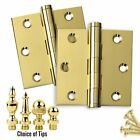 Door Hinges 3 x 3 Solid Brass Polished Brass Architectural Grade Set of 2