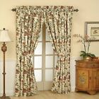 (1) Waverly Felicite Rod Pocket Panel Curtain w / Tie Back Cream Floral ~50 x 84