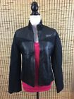 Ecko Red Womens Motorcycle Jacket Leather Black L Full Zip Coat
