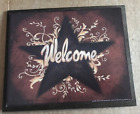 WELCOME vintage metal barn star country primitive home decor wall Sign 9x11