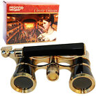HQRP Opera Glasses Black with Gold Trim w BuiltIn Extendable Handle in Gift Box