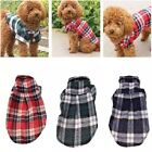 Large and Small Dog Pet Plaid T Shirt Flannel Coat Jacket Clothes Costume Top