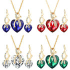 Women Love Heart Chain Necklace Crystal 18K Gold Plated Set Made with Swarovski