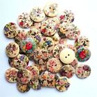 Lot Scrapbooking Card 20mm Wood Mixed Color 50Pcs Round Buttons 2Holes Sewing