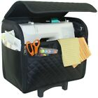 Everything Mary Black Adjustable Sewing Machine Travel Case Quilted Rolling Tote