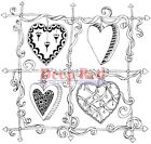 Deep Red Stamps Color Me Heart Frame Rubber Cling Stamp