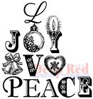 Deep Red Stamps Joy Peace Love Rubber Cling Stamp