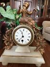 Antique French White Marble Alabaster Figural Mantle Clock