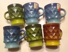 6 Vintage NWT 60s Anchor Hocking Fire King Kimberly Cups Mugs Blue Green Brown